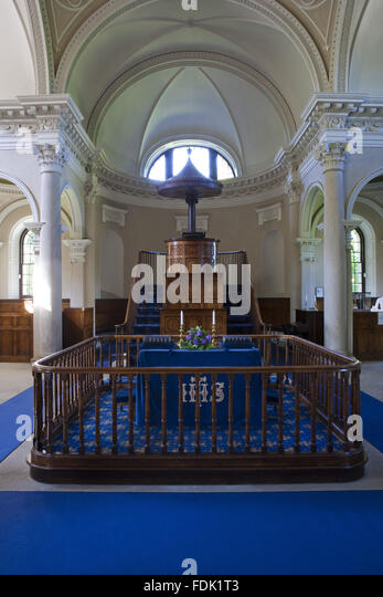 Inside the Palladian Chapel, begun in 1760 to the design of James Paine, at Gibside, Newcastle upon Tyne. The interior - Stock-Bilder