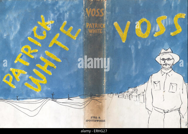 Voss by Patrick White. Australian writer and novelist b. 1912.  September, 1990, book cover published by Eyre and - Stock Image
