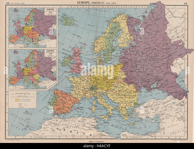 EUROPE in 1941 & 1914/38. Third Reich. Vichy France. Partitioned Poland 1944 map - Stock Image