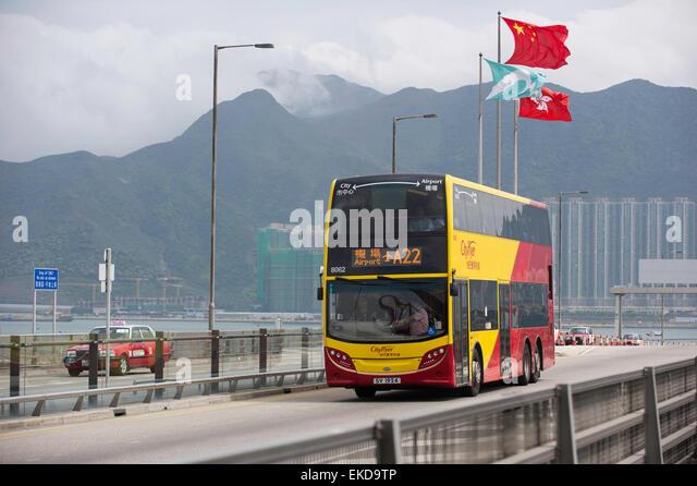 Airport bus arriving at Hong Kong International Airport - Stock Image