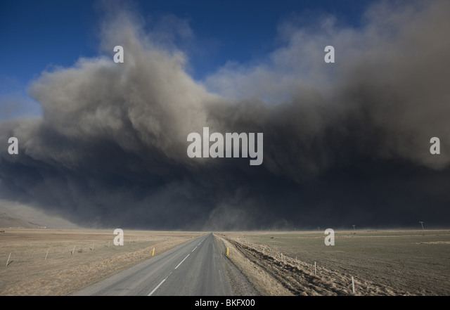 Highway One or Ring Road with Volcanic Ash Cloud from Eyjafjallajokull Volcano Eruption, Iceland. - Stock Image