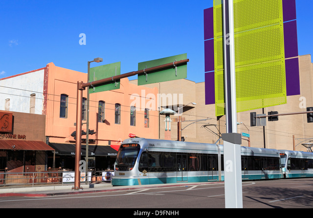 Metro Light Rail on Washington Avenue, Phoenix, Arizona, USA - Stock Image