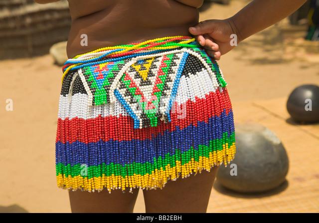 Beaded skirt of a Zulu girl, KwaZulu Natal, 'South Africa' - Stock Image