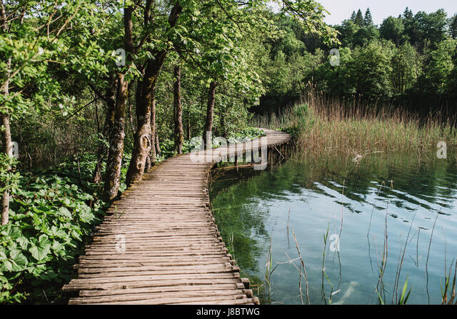 Wooden path in Plitvice, Croatia - Stock Image