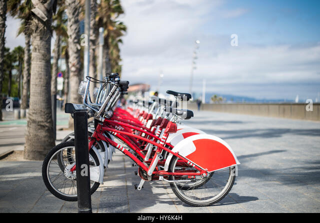 Shared bicycles are parked in the parking in Barcelona - Stock Image
