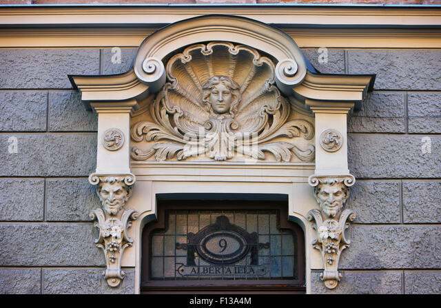 Latvia. The famous ancient bas-relief on the facade of the house on Alberta Street in Riga - Stock Image