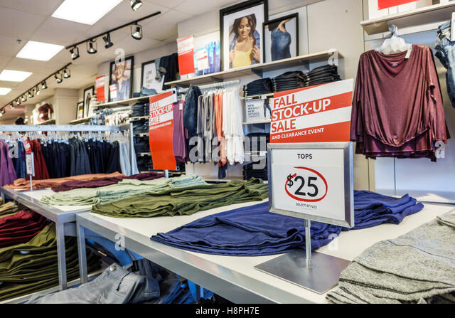 Vero Beach Florida shopping Lane Bryant women's clothing fashion sale display fall - Stock Image