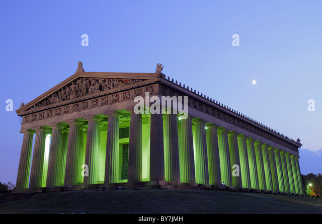 Nashville Tennessee Centennial Park Parthenon 1897 historic building museum Greek Athena classical architecture - Stock Image