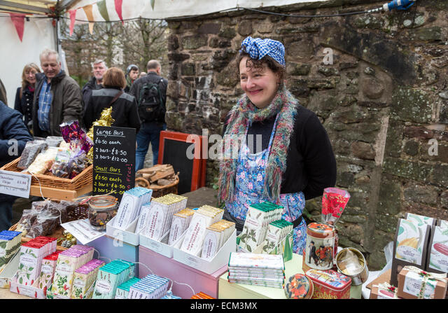 Market stall selling chocolate at the Christmas Food Festival, Abergavenny, Wales, UK - Stock Image