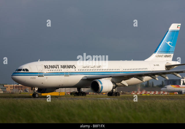 Kuwait Airways Airbus A300B4-605R taxiing for departure at London Heathrow airport. - Stock Image
