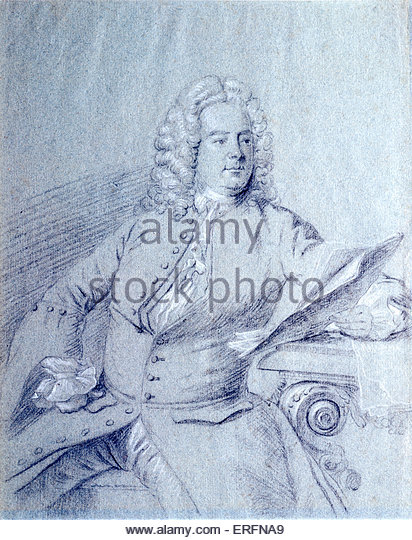 George Frideric Handel - portrait of the German / English composer. Artist unknown. Sketch courtesy of Richard Phelps. - Stock Image