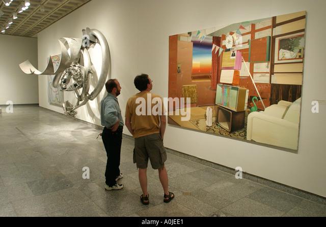Cleveland Ohio University Circle Museum of Art modern art painting visitors - Stock Image