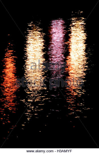 night lights reflections on the water - Stock Image