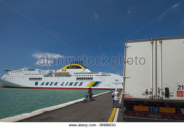 Italy Ancona port anek line ferry boat ship sea Travel Tourism Roberto Meazza IML Image Group - Stock-Bilder