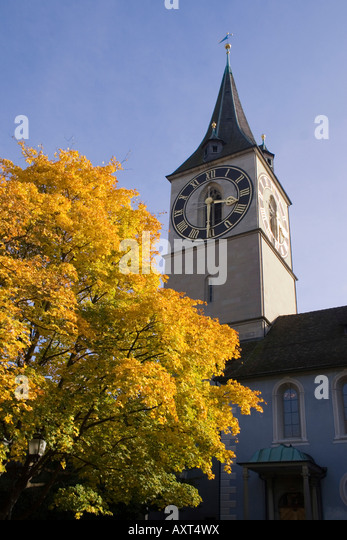 Switzerland Zuerich St Peterhofstatt St Peters church autumn - Stock Image