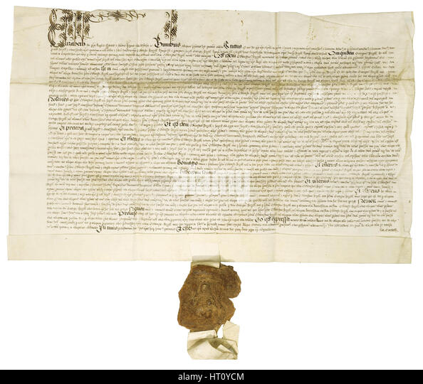 Document signed by Queen Elizabeth I with Royal Great Seal, 1564. Artist: Historical Document - Stock Image