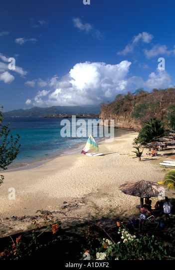 Grenada Sailboat deserted beach near St Georges southern caribbean - Stock Image