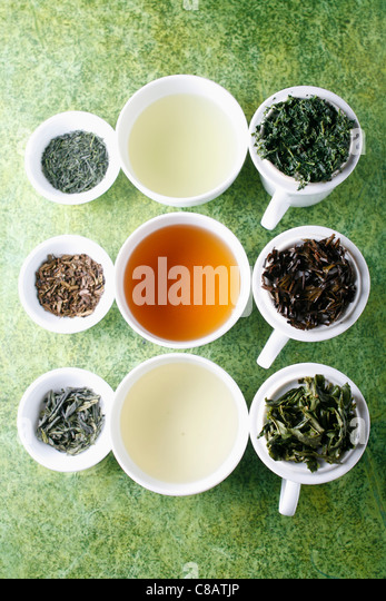 Assorted green teas - Stock Image