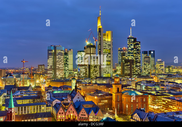 Frankfurt at night - Stock Image
