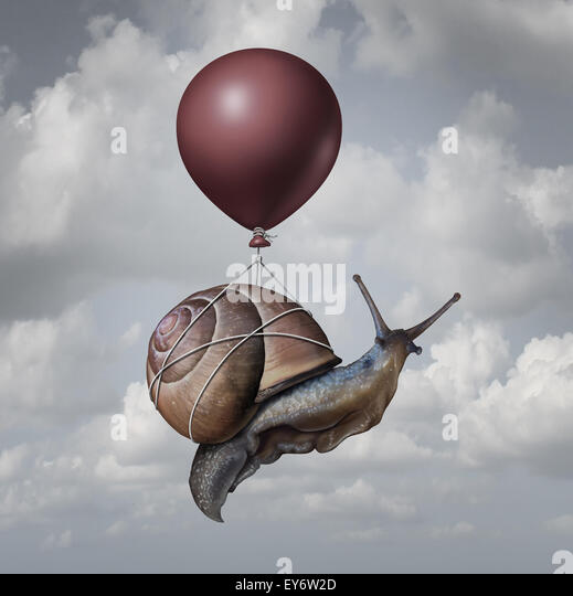 Success concept  and business advantage idea or game changer symbol as a balloon lifting up a slow generic snail - Stock-Bilder