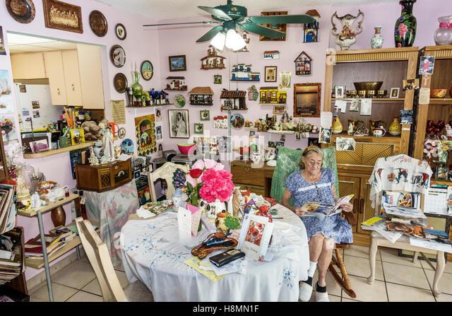 Florida Miami Beach senior Hispanic woman home interior decor decorated - Stock Image