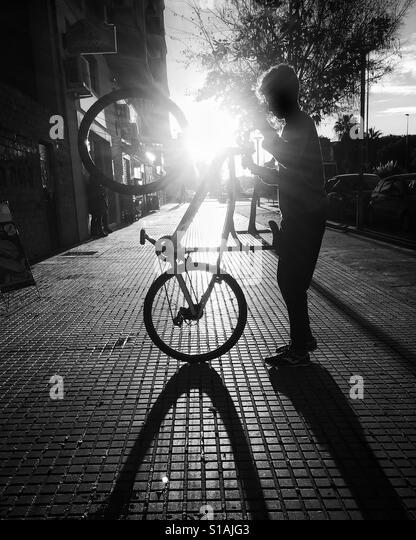 Street biker in Jerez de la Frontera. - Stock-Bilder