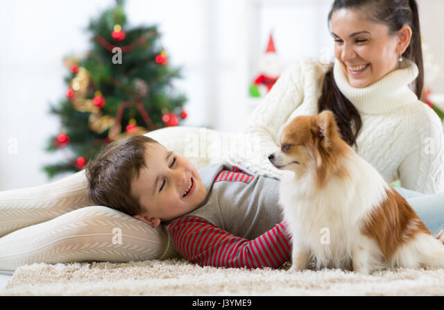 smiling family and dog sitting by Christmas tree - Stock Image