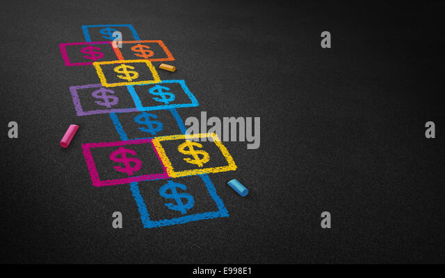 Paying for school concept and education financing business concept as a chalk drawing of a hopscotch game on a floor - Stock Image