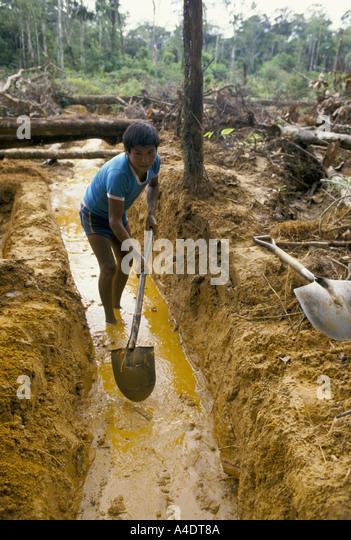 young man gold digging peru - Stock Image