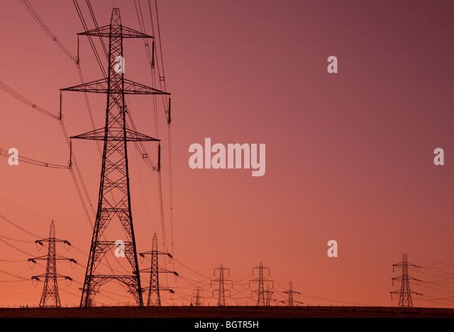 Electricity pylons. Ratcliffe, Nottinghamshire, UK - Stock Image