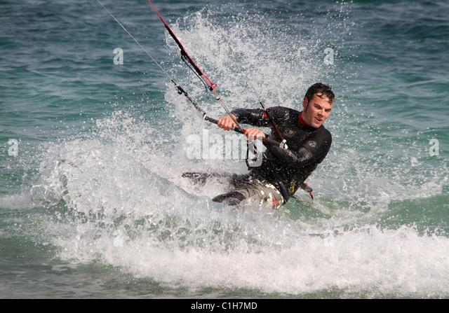Man kite wind surfing in Majorca. - Stock Image