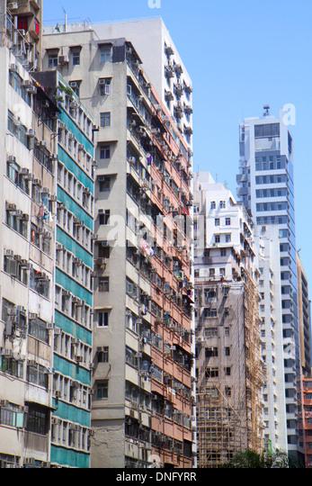 China Hong Kong Island Wan Chai Johnston Hennessy Road high rise apartment condominium buildings - Stock Image