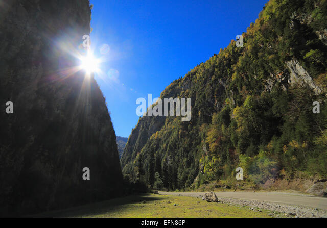 Caucasus mountains, Abkhazia, Georgia - Stock Image