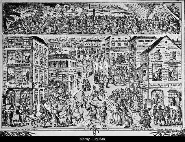 Anti-semitic illustration from the 'Politischen Bilderbogen' titled 'The Jews in Germany', Dresden, - Stock Image