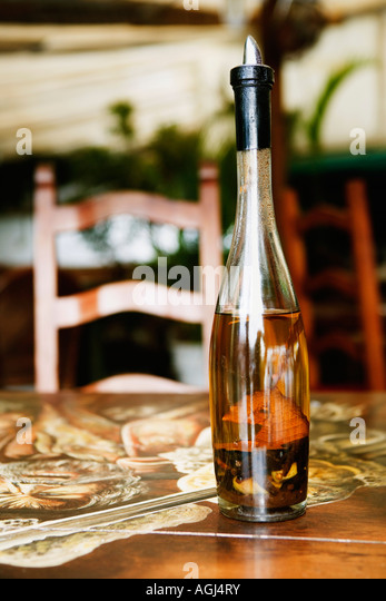 Close-up of a wine bottle - Stock Image