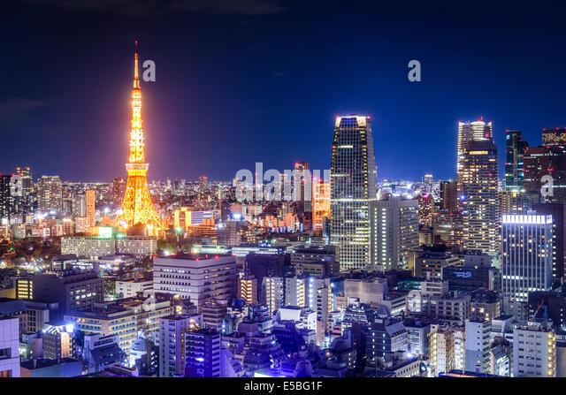 Tokyo, Japan skyline at night. - Stock Image