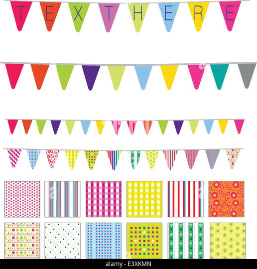 patterns and banners in a retro cute style, spots, stripes and flowers motifs - Stock Image