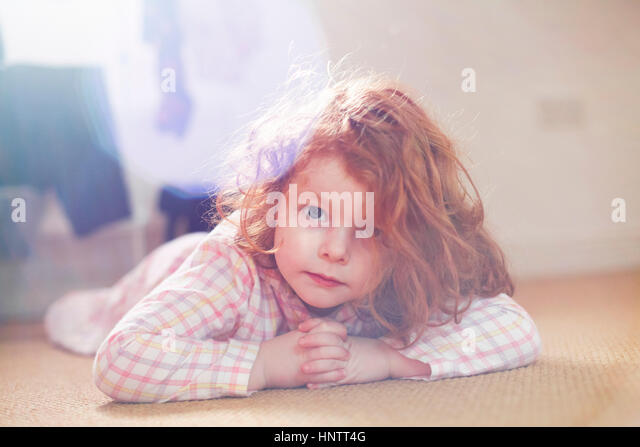 4 Year Old Girl in the morning - Stock Image