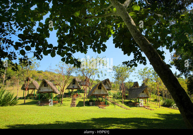 Village of wooden houses on stilts, Las Terrazas, Viñales, Cuba - Stock Image