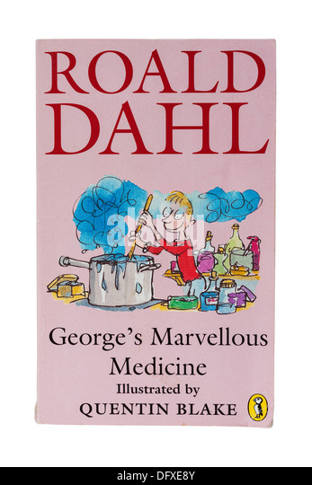 A Roald Dahl childrens book called George's Marvellous Medicine on a white background - Stock Image