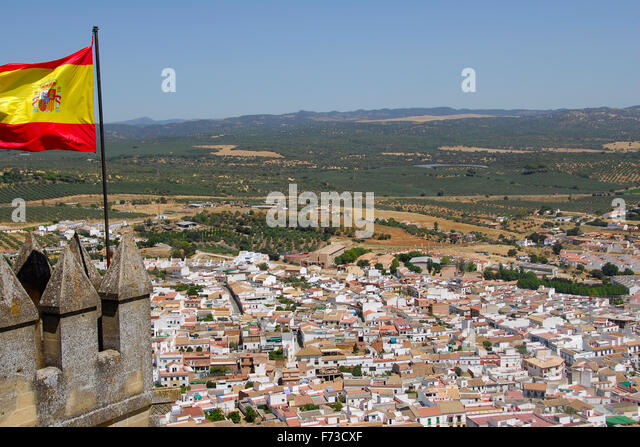 Almodóvar del Río, Cordoba, Andalucia, Spain The castle's architecture style is Gothic-Mudejar. Spanish - Stock Image