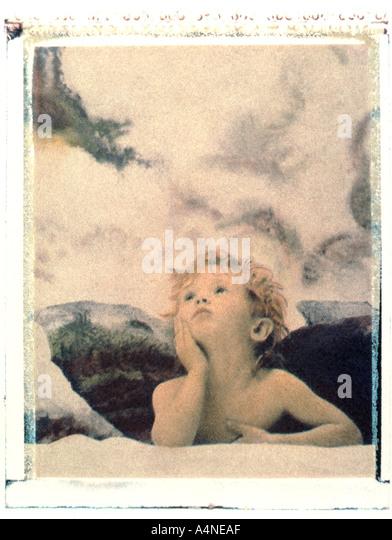 Angel child polaroid transfer - Stock Image