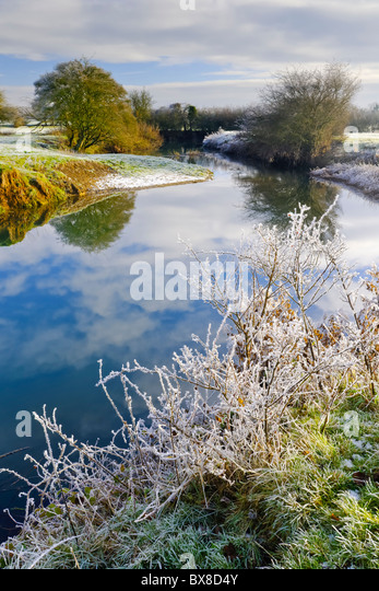 Winter River Landscape - Stock Image