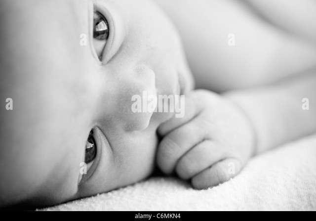 newborn baby in black and white - Stock Image