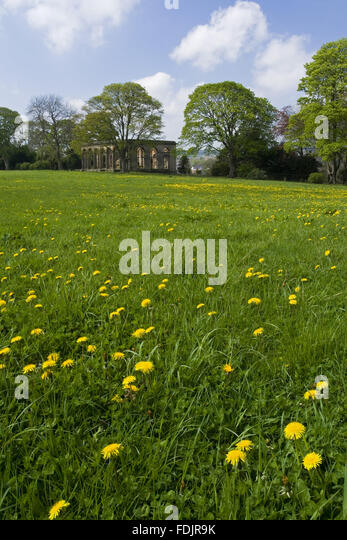 View across a wildflower meadow to the Orangery at Gibside, Newcastle upon Tyne. George Bowes inherited the estate - Stock-Bilder