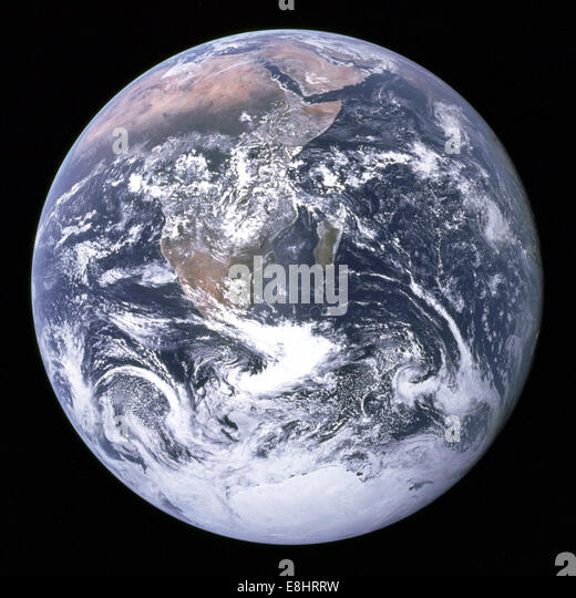 This famous Earth photo, known as The Blue Marble, was captured by the Apollo 17 astronauts on the same day that - Stock Image
