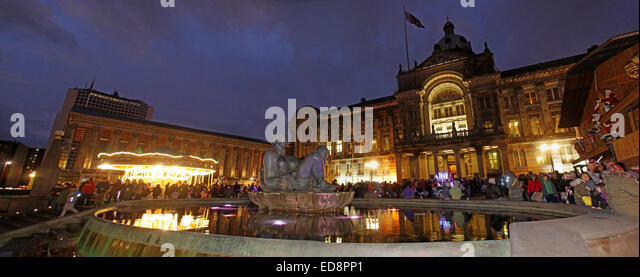 Birmingham Town Hall Council House,Victoria Square, Birmingham, England, UK, B3 3DQ, at dusk - Stock Image
