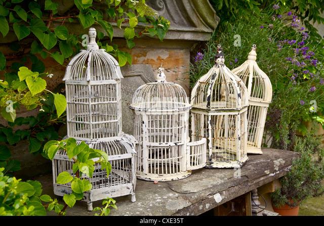 Vintage White Metal Birdcages - Stock Image