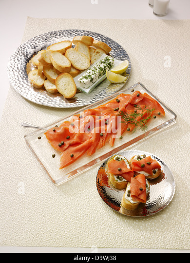 salmon amuse bouche - Stock Image