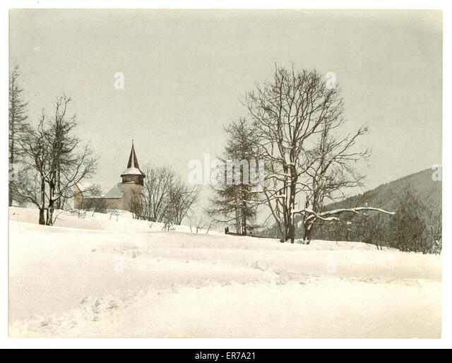Frauenkirch, near Davos, Grisons, Switzerland, in winter (reversed). Date between ca. 1890 and ca. 1900. - Stock Image